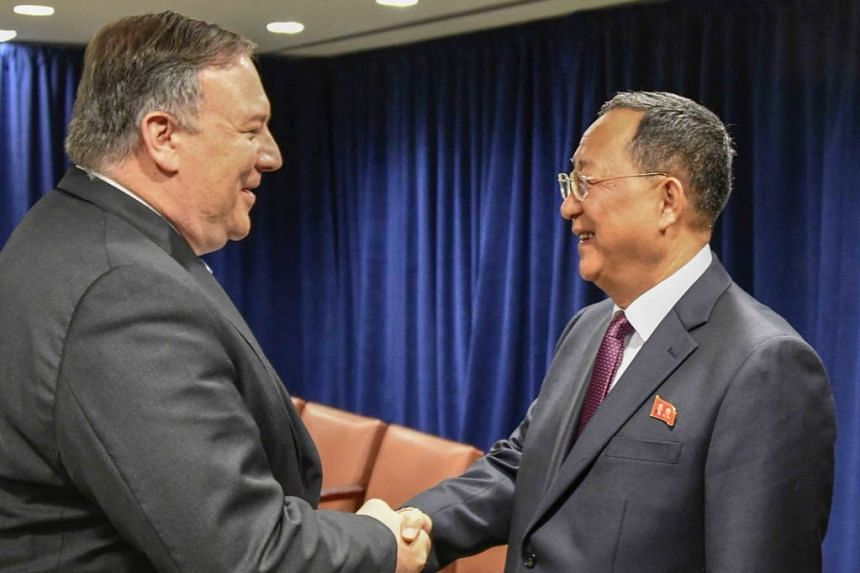 """Pompeo tweeted with photos (above) that he had a """"very positive meeting"""" with Foreign Minister Ri Yong Ho."""