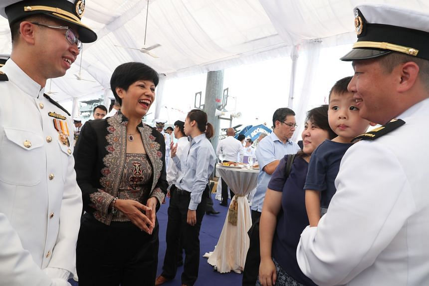 Minister in the Prime Minister's Office Indranee Rajah opened the Tuas training facility and officiated at the commissioning of navy warships RSS Justice and RSS Indomitable.