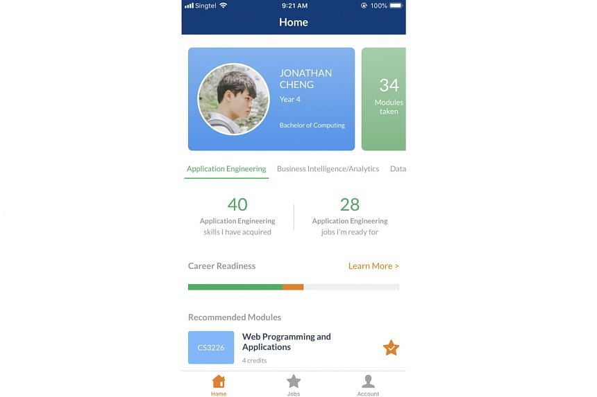 A sample account from the NUS career+ app, which informs students about possible jobs for the degrees they are pursuing.