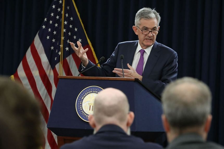 Federal Reserve Board chairman Jerome Powell speaking during a news conference in Washington.