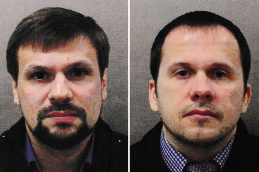 British prosecutors believe the names of suspects Ruslan Boshirov (left) and Alexander Petrov are fake.