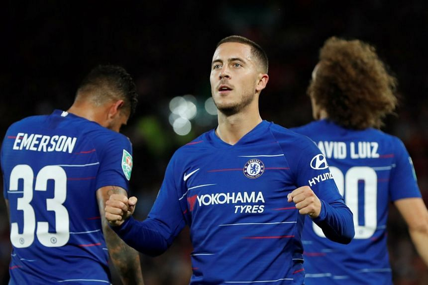 Hazard celebrates scoring Chelsea's second goal against Liverpool on Sept 26, 2018.