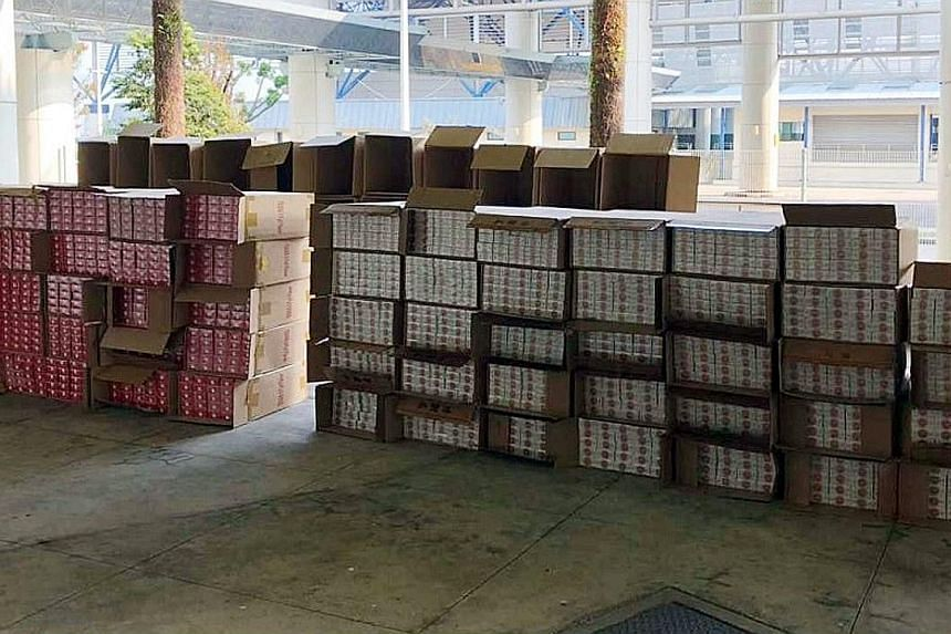 A total of 3,500 cartons of duty-unpaid cigarettes were found among a consignment of frozen food in a Malaysia-registered refrigerated lorry at the Tuas checkpoint at 5.30am on Wednesday. An Immigration and Checkpoints Authority (ICA) officer had spo