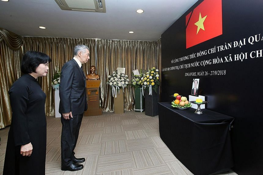 In his condolence message, Prime Minister Lee Hsien Loong (seen here with Vietnamese ambassador to Singapore Tao Thi Thanh Huong) said the late Vietnamese President Tran Dai Quang dedicated his life to serving his beloved country, improving the lives