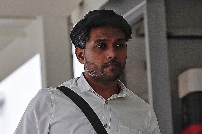 Artist Seelan Palay at the court on the second day of his trial yesterday. The activist denied that his performance last October was to commemorate the detention of long-time political detainee Chia Thye Poh.