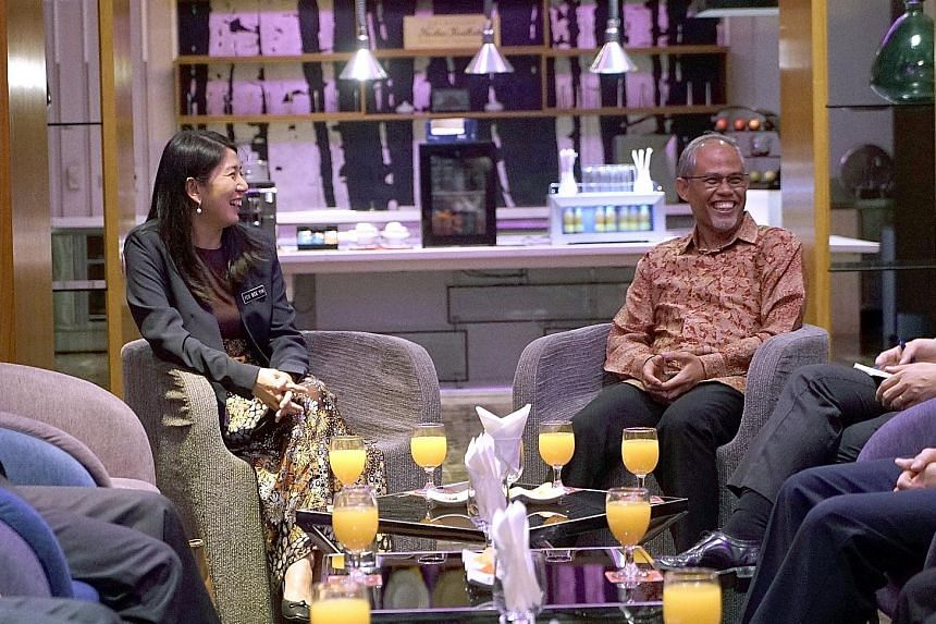 Singapore Minister for the Environment and Water Resources Masagos Zulkifli with Ms Yeo Bee Yin, Malaysia's Energy, Science, Technology, Environment and Climate Change Minister, at yesterday's meeting.