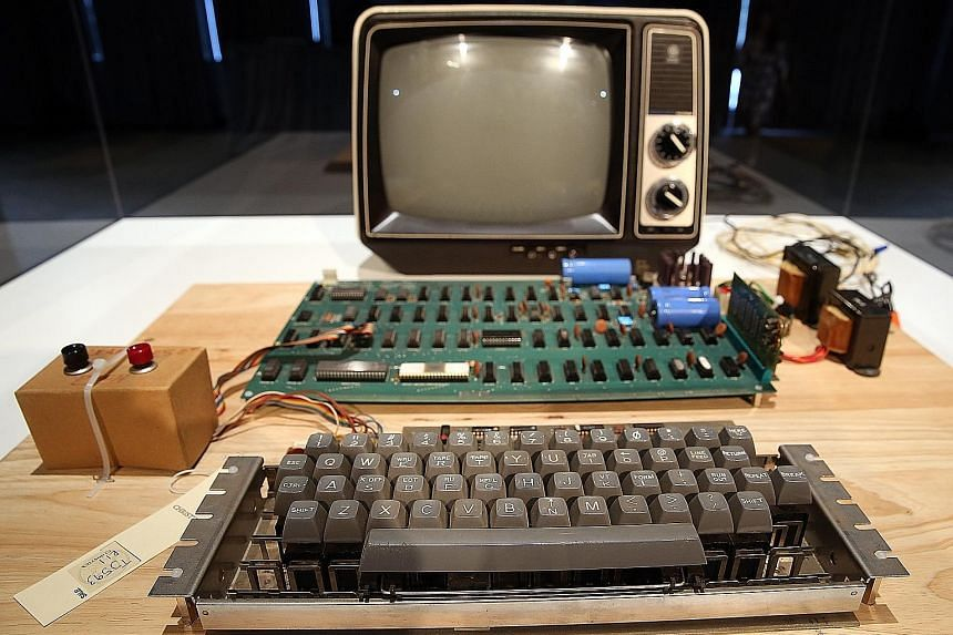 An Apple-1 on display at an online auction. The Apple-1 originally went for US$666.66, when it was sold by the Byte Shop computer store in Mountain View, California.