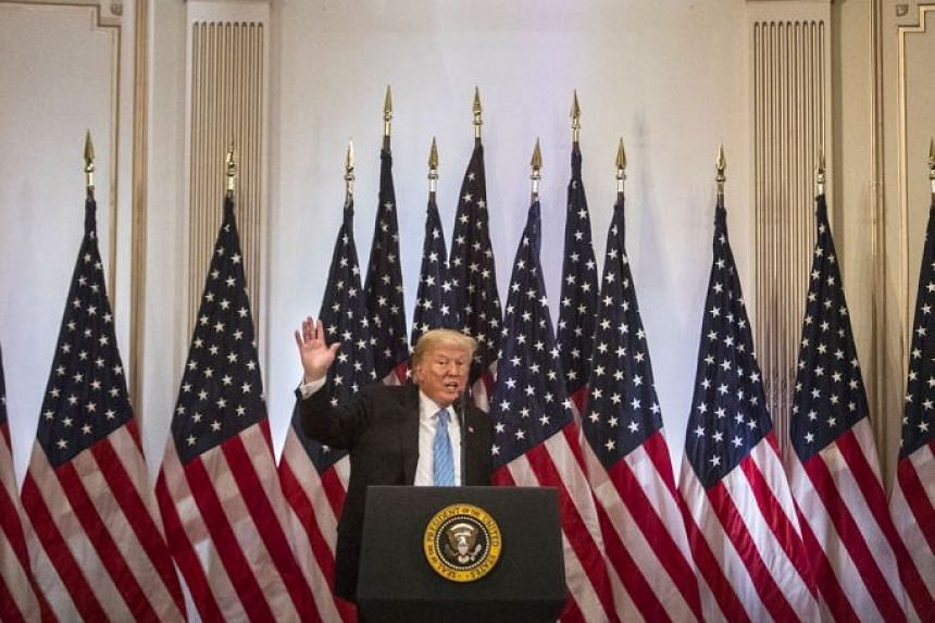 US President Donald Trump at a news conference on the sidelines of the UN General Assembly in New York on Wednesday. He has said that China wanted him to suffer an electoral setback at the vital mid-term polls in November as payback for his hard line