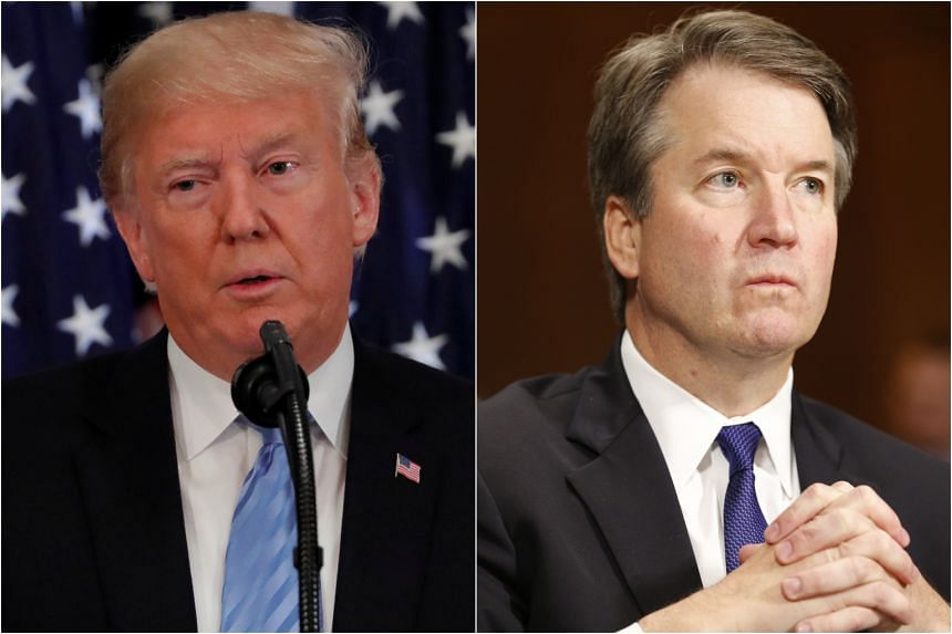 """Judge Kavanaugh's (right) testimony """"was powerful, honest, and riveting"""", US President Donald Trump said in a tweet."""