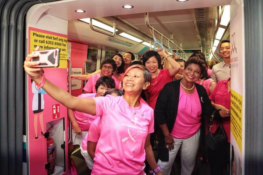 """The Pink Train, which features the message """"Every Woman Matters"""", was launched at Bukit Panjang MRT station on Sept 28, 2018."""