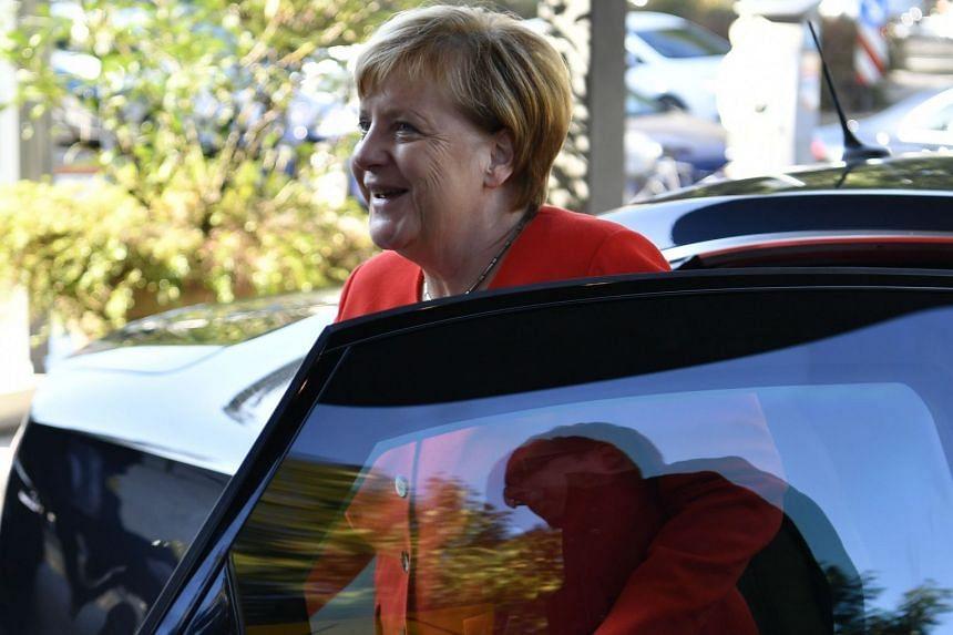 Merkel arriving at the Konrad-Adenauer Foundation in Berlin on Sept 27, 2018.