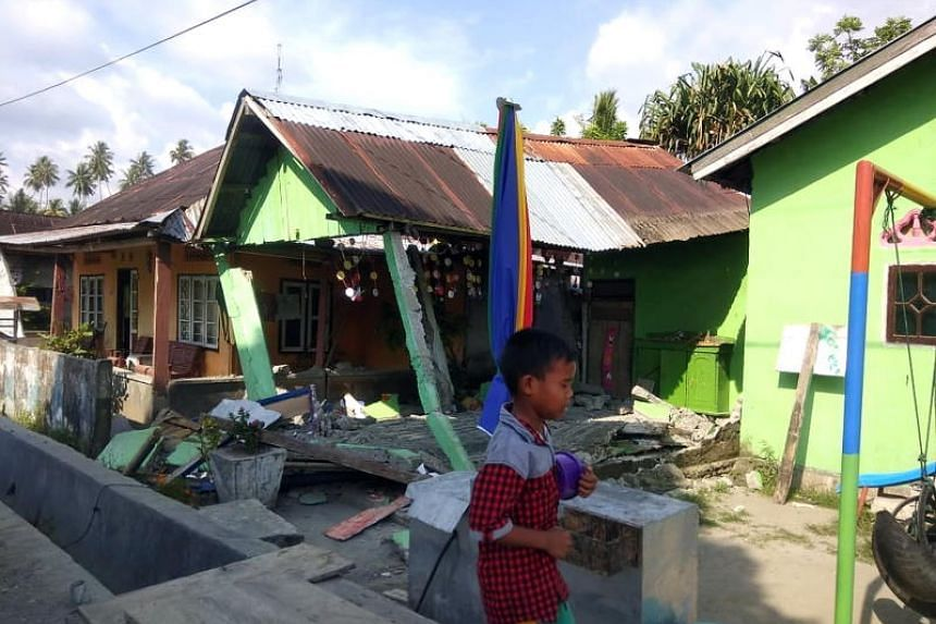 A collapsed house in Donggala, Central Sulawesi, Indonesia, after a strong earthquake hit the area on Sept 28, 2018.