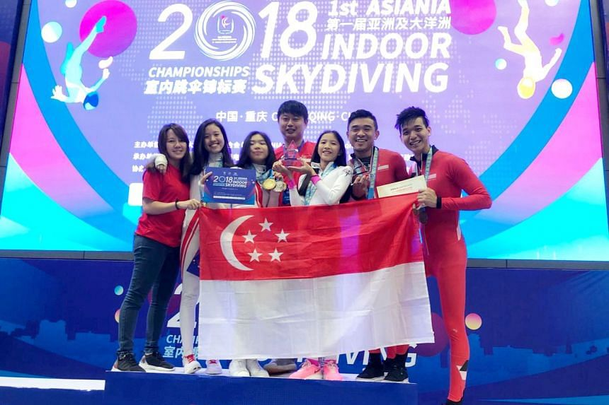 The Singapore skydiving contingent posing with their medals at the inaugural Asiania Indoor Skydiving Championships event in Chongqing, China in September 2018.