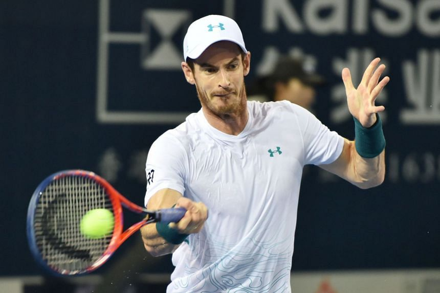 Murray in action against  David Goffin of Belgium at the ATP Shenzhen Open.