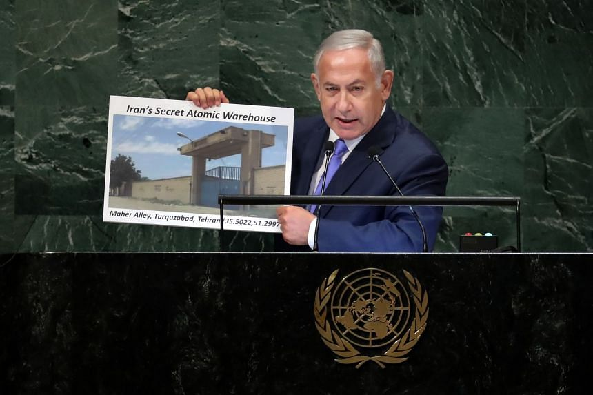 Netanyahu addressing the United Nations General Assembly at the UN headquarters in New York.