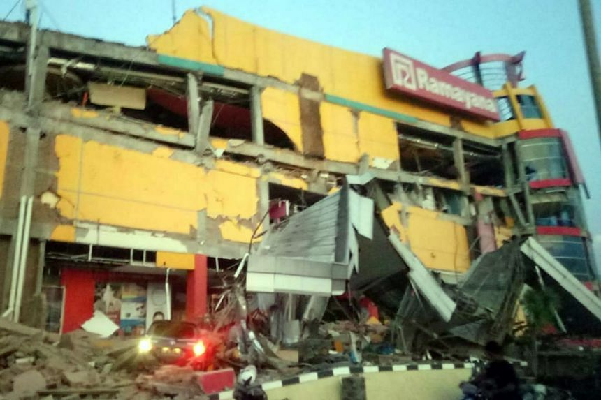 A collapsed shopping mall in Donggala, Central Sulawesi.