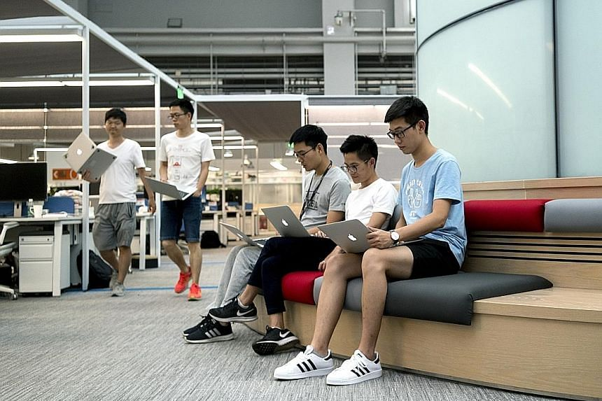 Bytedance employees at the company's headquarters in Beijing. The six-year-old Internet firm is said to be seeking around US$3 billion in the current round of investment.