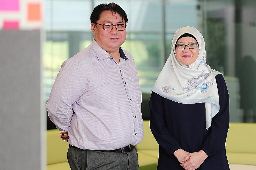 Henry Park Primary principal Martin Koh and Anchor Green Primary principal Norliza Rahim, whose schools have done away with continual assessments in favour of smaller assessments like topical tests or quizzes.