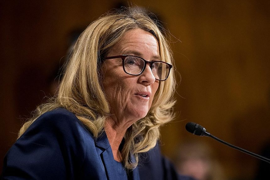 """The details about that night that bring me here today are ones I will never forget. They have been seared into my memory and have haunted me episodically as an adult."" - (Above) Dr Christine Blasey Ford, at the Kavanaugh-Ford hearing."