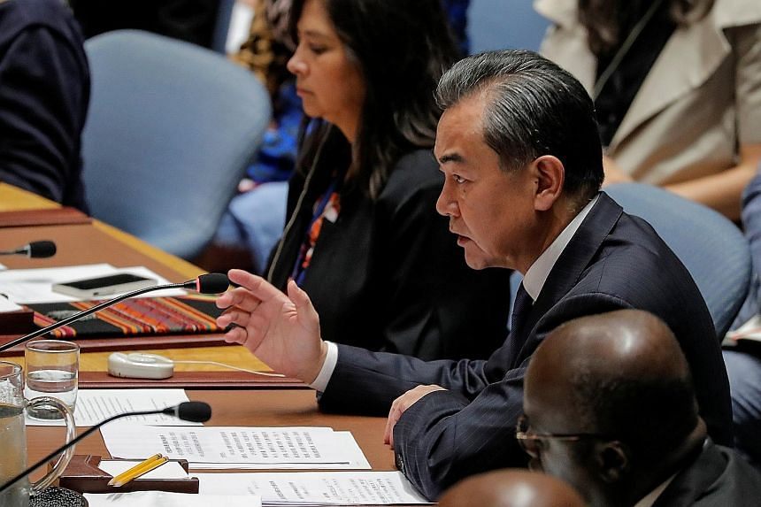 Chinese Foreign Minister Wang Yi speaking during a meeting of the United Nations Security Council in New York on Thursday. US Secretary of State Mike Pompeo told the Security Council that until the denuclearisation of the Korean peninsula is complete