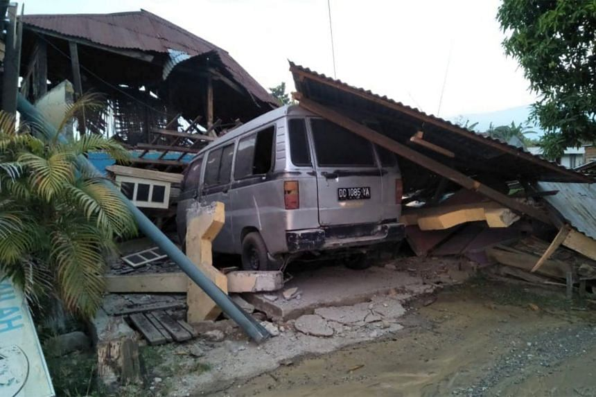 A damaged house is seen after an earthquake hit in Palu, Sulawesi Island, on Sept 29, 2018.