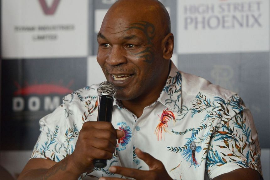 """Former US boxer Mike Tyson at a Mumbai press conference promoting the launch of the Kumite 1 League mixed martial arts competition on Sept 28, 2018. He said that boxing had lost its """"big personalities""""."""