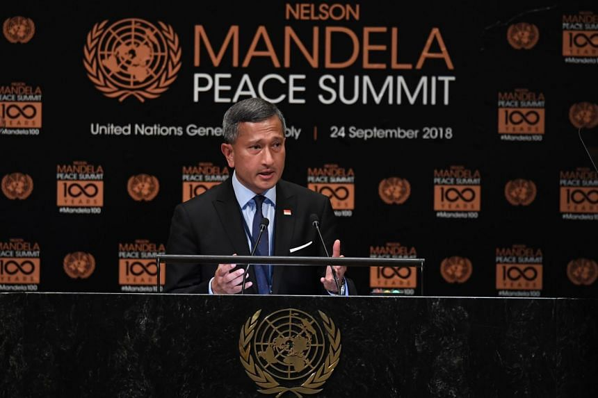 Foreign Minister Vivian Balakrishnan addressing the Nelson Mandela Peace Summit at the United Nations in New York on Sept 24, 2018.