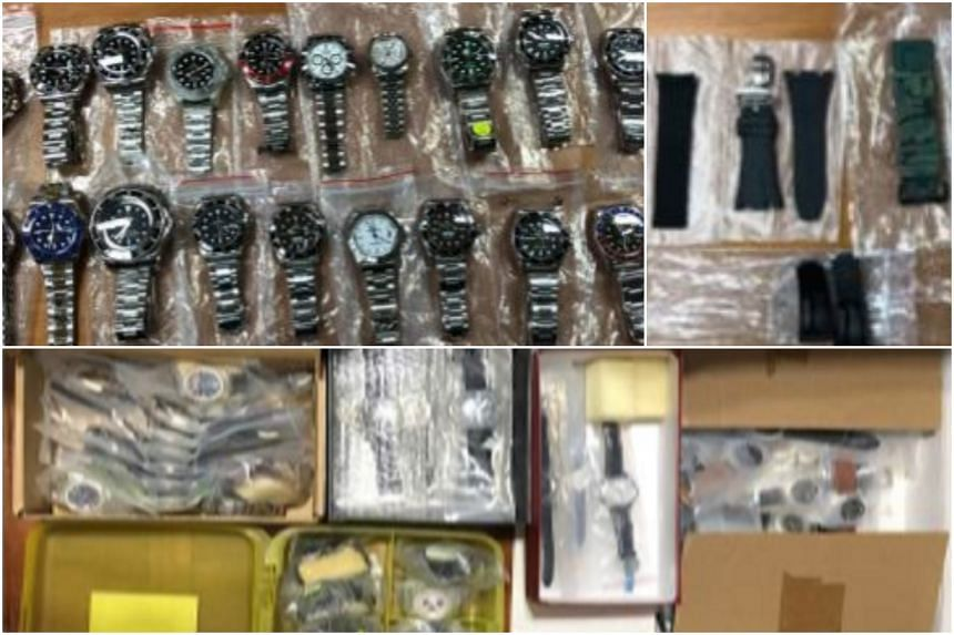 Officers from the Criminal Investigation Department conducted a raid in the vicinity of Bukit Timah and seized 255 pieces of trademark-infringing goods, such as watches and watch accessories.
