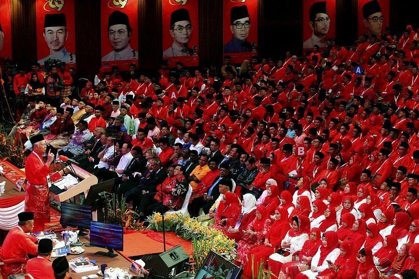 File photo showing former Malaysian prime minister Najib Razak addressing the Umno general assembly at Kuala Lumpur's Putra World Trade Centre in November 2015.