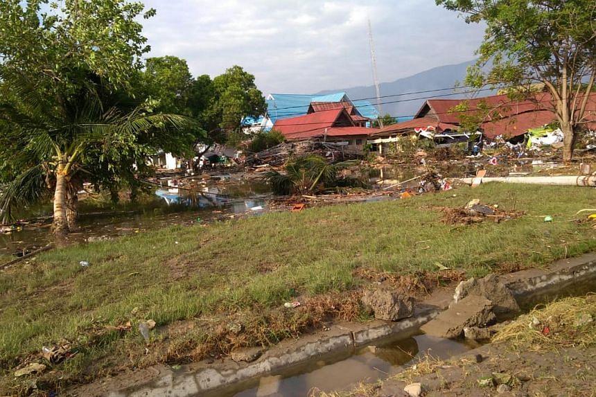 Property damaged by the tsunami that hit Palu, Sulawesi island, on Sept 29, 2018.