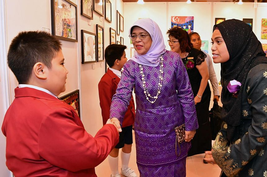 President Halimah Yacob at the official opening of the Association for Persons with Special Needs Chaoyang School in Ang Mo Kio Avenue 9 on Sept 28, 2018.