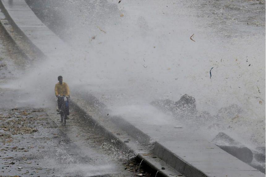 High tide at the coast in Mumbai, India, on July 13, 2018.