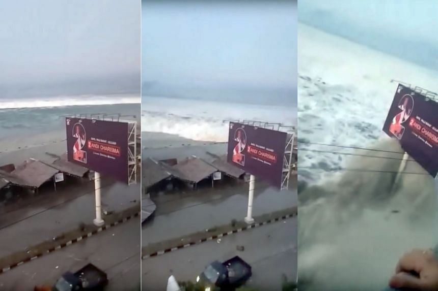 Stills from a video posted to social media show the waves generated by the earthquake.