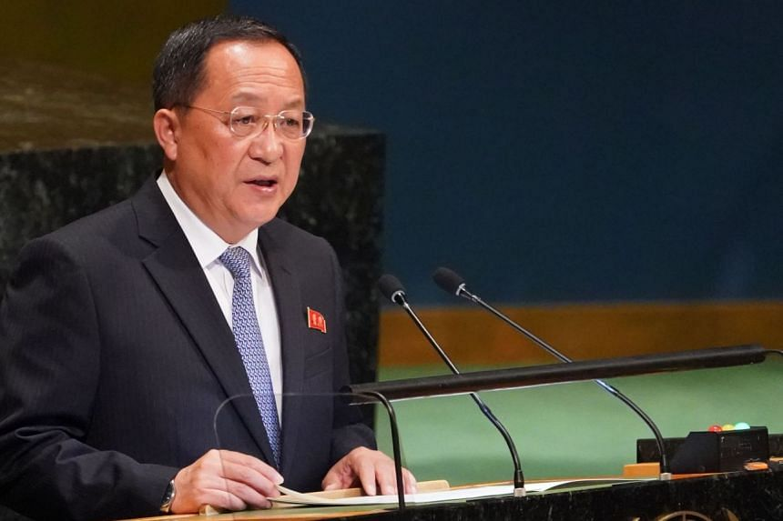 North Korean Foreign Minister Ri Yong-ho addresses the United Nations General Assembly.