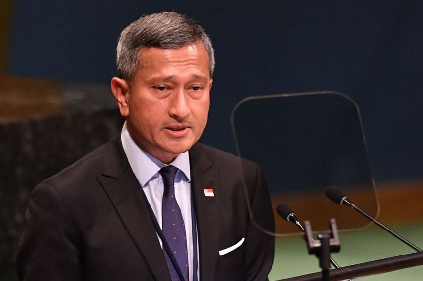 Minister for Foreign Affairs Vivian Balakrishnan addressing the Nelson Mandela Peace Summit at the UN on Sept 24, 2018.