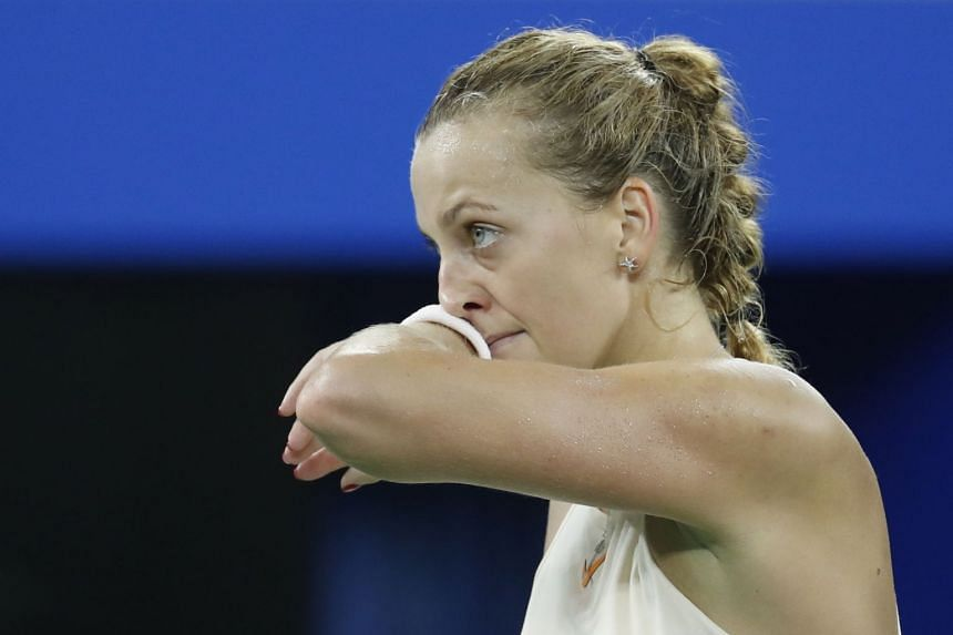 Kvitova (above) was undermined by her own inconsistency, making 39 unforced errors.