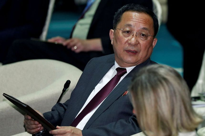 North Korea's Foreign Minister Ri Yong Ho attends the Asean Regional Forum Retreat Session in Singapore Aug 4, 2018.