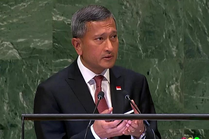 """In his speech at the UN General Assembly in New York yesterday, Foreign Minister Vivian Balakrishnan said """"there is a strong case to be made for doubling down on multilateralism, rather than retreating from it""""."""