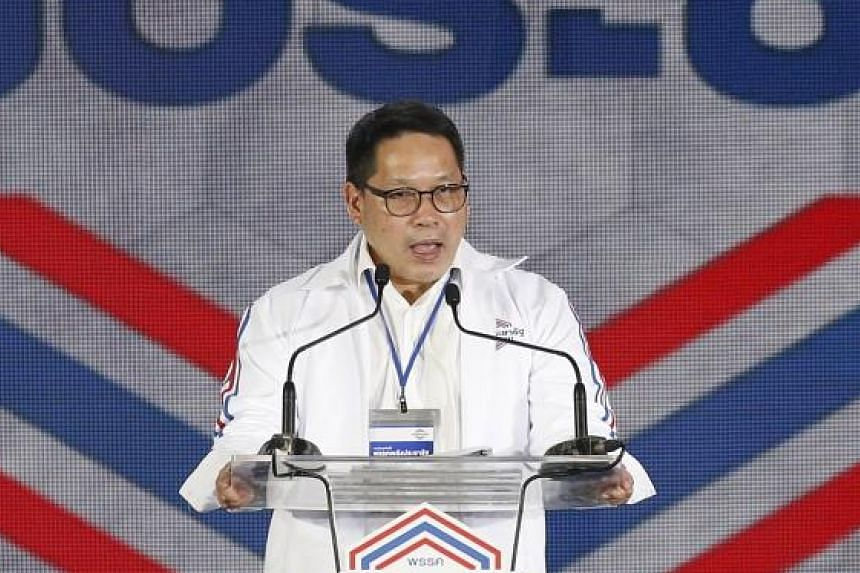 Dr Uttama Savanayana, leader of Palang Pracharath Party, speaking during its general assembly in Bangkok yesterday.