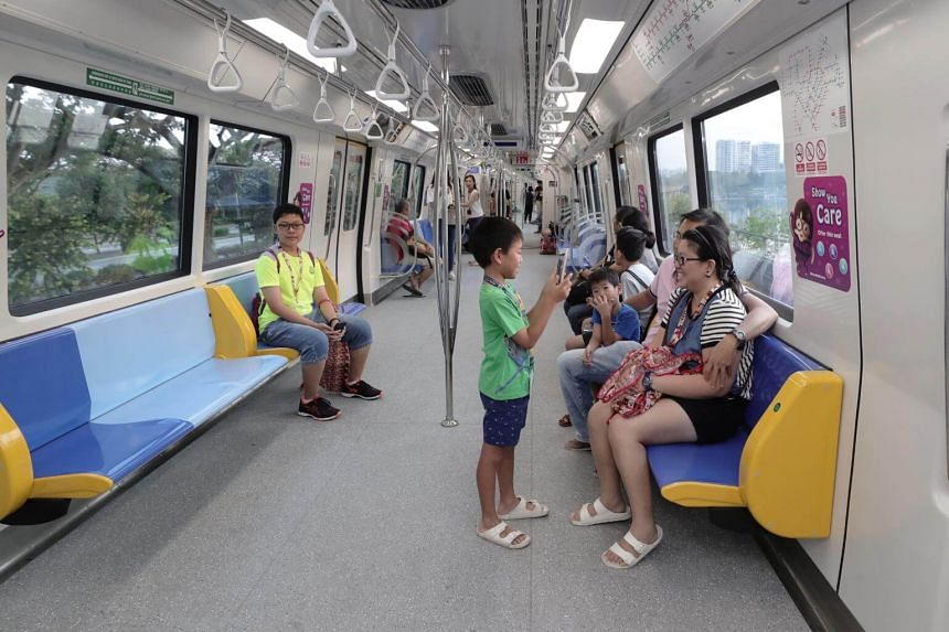 The first of the new C151C trains, which feature tip-up seats, went into service Sept 30, 2018, from Ang Mo Kio station.