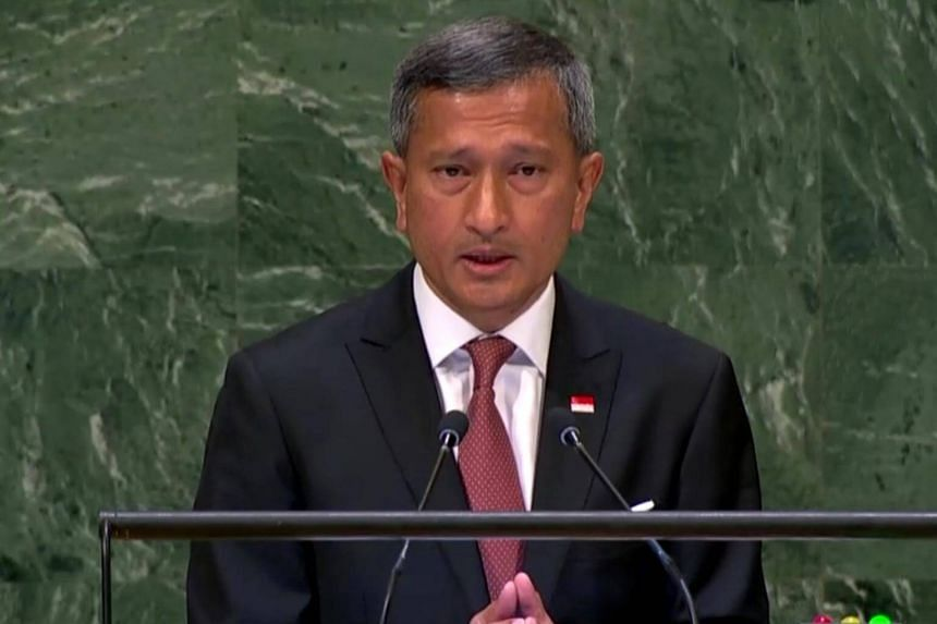 Foreign Minister Vivian Balakrishnan speaking at the United Nations General Assembly in Manhattan, on Sept 29, 2018.