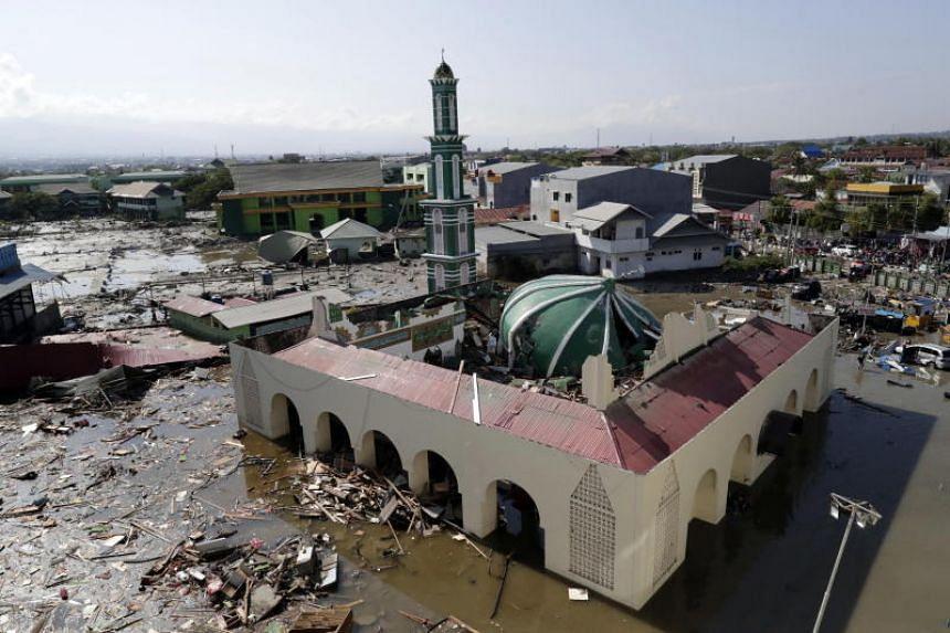 A general view of a tsunami-devastated mosque in Talise beach, Palu.