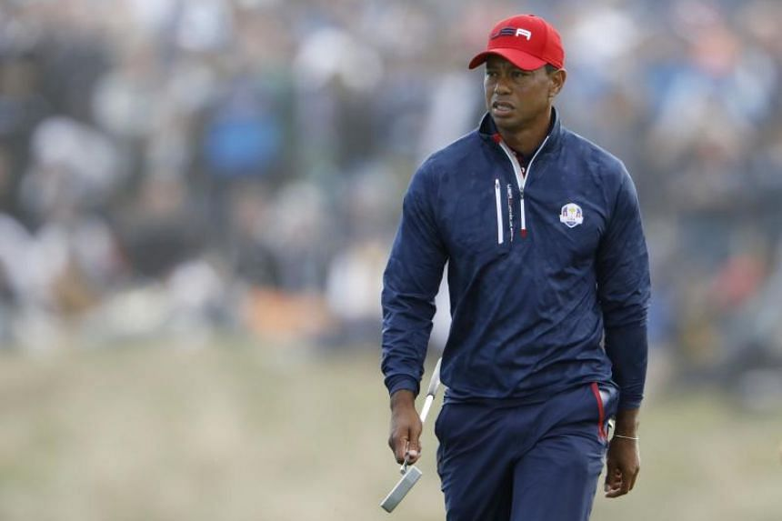 Team US' Tiger Woods looks dejected during the 2018 Ryder Cup at Le Golf National at Guyancourt, France, on Sept 30, 2018.