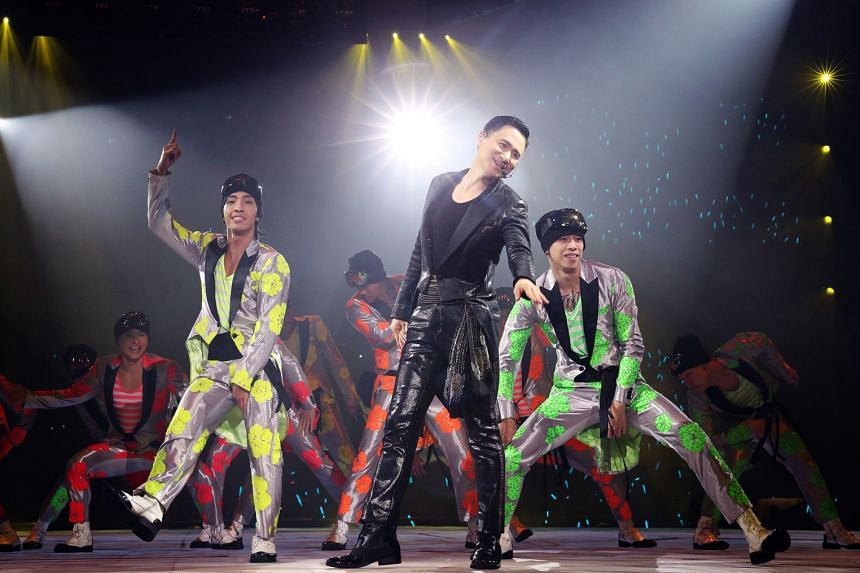 Singer Jacky Cheung performing at the Singapore Indoor Stadium on Feb 9, 2018. The Hong Kong star has developed a reputation as an unwitting crime buster after multiple arrests were made at his concerts.