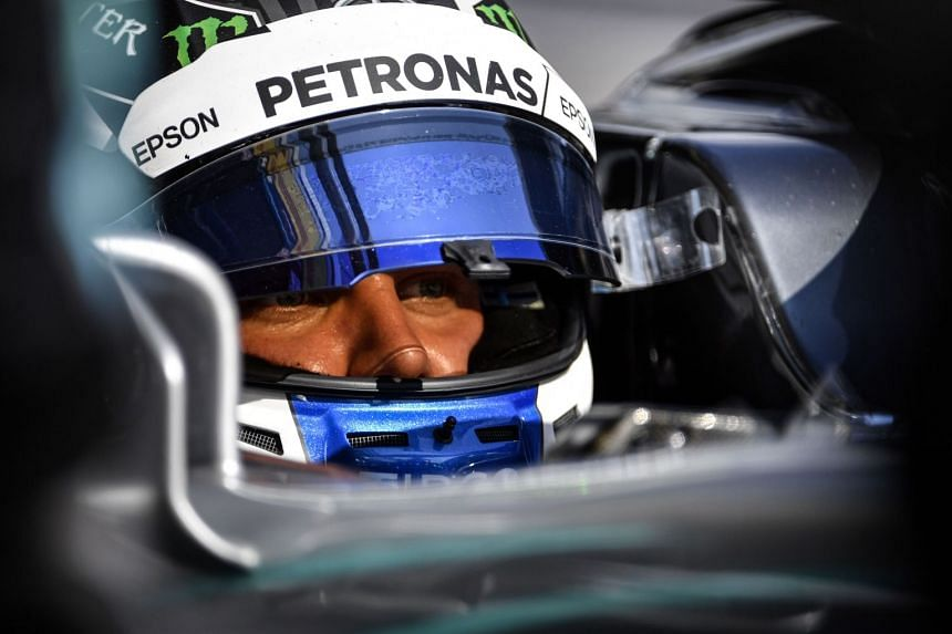 Bottas gets ready during the third practice session of the Formula One Russian Grand Prix.