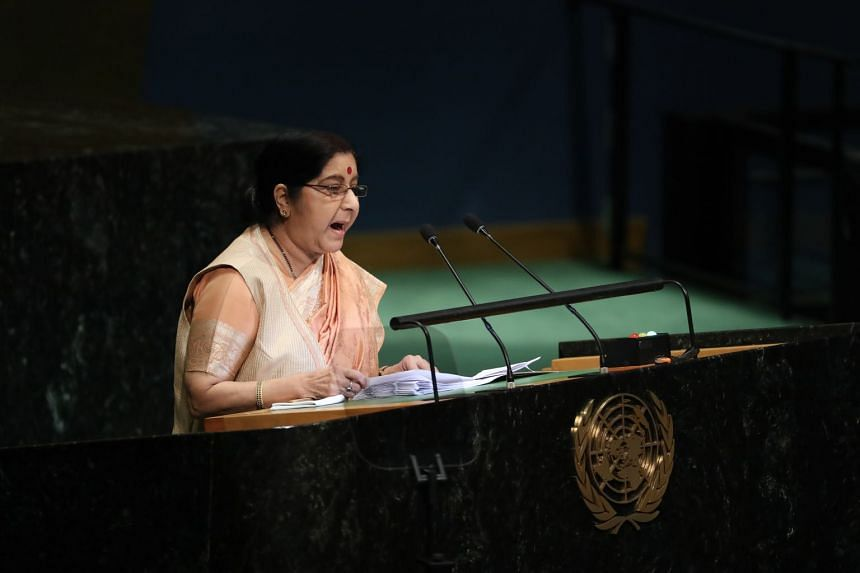 Ms Sushma Swaraj, India's foreign minister, speaks at the United Nations General Assembly.