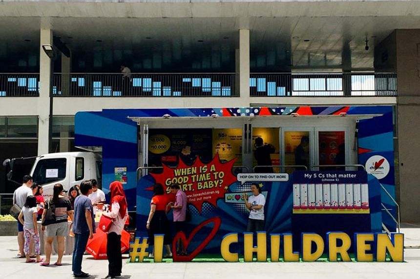Voluntary welfare organisation I Love Children's Truck-on-the-Go, which educates visitors on fertility, finances and work-life matters, at Hillion Mall on Sept 29, 2018.