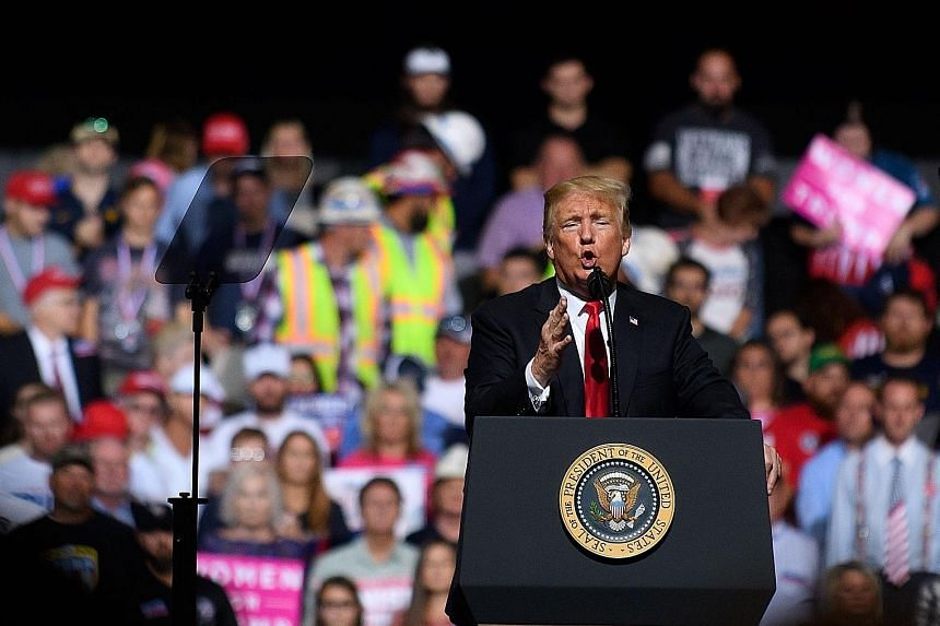 At the rally, Mr Donald Trump framed the resistance to Judge Brett Kavanaugh's nomination to the Supreme Court in partisan terms.