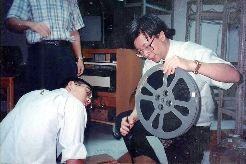Shirkers by Singapore-born film-maker Sandi Tan (above right, with Sophie Siddique) will be screened at Capitol Theatre to celebrate the 60th anniversary of the Singapore Film Society. Singapore Film Society chairman Kenneth Tan working on a film ree