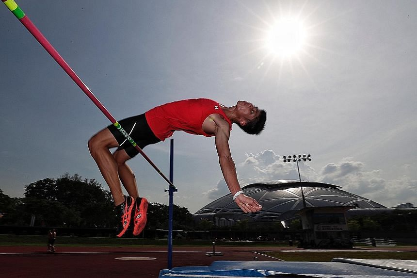 Kampton Kam going over the bar in training for the Youth Olympics, which start on Saturday in Buenos Aires, Argentina. The 17-year-old, whose personal best is 2.10m, says the adrenaline rush in competition spurs him on.